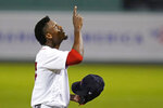 Boston Red Sox starting pitcher Robinson Leyer points upward as he heads to the dugout after throwing in the first inning of the team's baseball game against the Atlanta Braves, Wednesday Sept. 2, 2020, in Boston. (AP Photo/Charles Krupa)