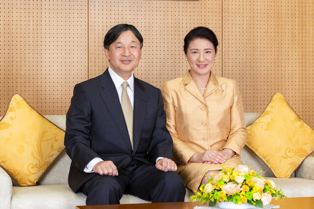 In this Dec. 3, 2019, photo released by Imperial Household Agency of Japan, Japan's Emperor Naruhito and Empress Masako pose for a photo at their residence in Tokyo. Masako celebrated 56th birthday on Monday, Dec. 9, 2019. (Imperial Household Agency of Japan via AP)