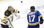 Boston Bruins goaltender Tuukka Rask (40), of Finland, blocks the puck as St. Louis Blues left wing Jaden Schwartz (17) closes in during the second period of Game 6 of the NHL hockey Stanley Cup Final Sunday, June 9, 2019, in St. Louis. (AP Photo/Scott Kane)