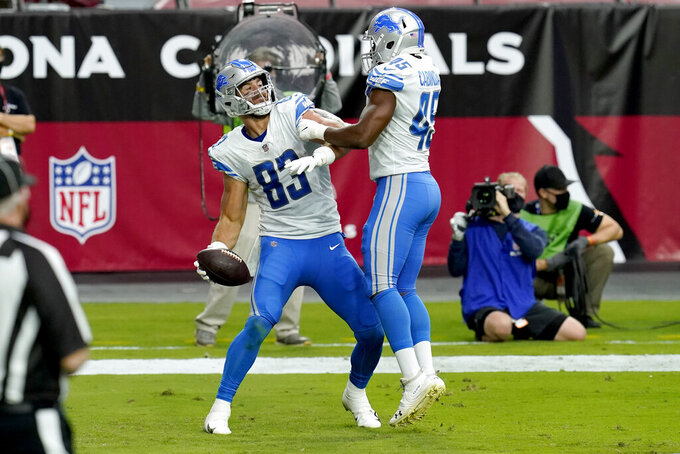 Detroit Lions tight end Jesse James (83) celebrates his touchdown with fullback Jason Cabinda (45) during the first half of an NFL football game against the Arizona Cardinals, Sunday, Sept. 27, 2020, in Glendale, Ariz. (AP Photo/Ross D. Franklin)