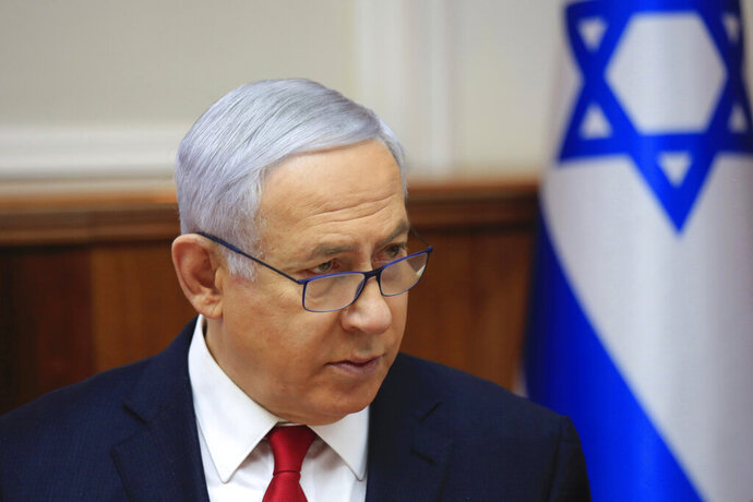 Israeli Prime Minister Benjamin Netanyahu speaks during the weekly cabinet meeting at the Prime Minister's office in Jerusalem, Sunday, May 19, 2019 (AP Photo/Ariel Schalit, Pool)