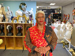 Judi Henderson, owner of Mannequin Madness, stands inside her store, Tuesday, Sept. 22, 2020, in Oakland, Calif., which sells used mannequins, hosts art classes and has a portrait studio for people and dogs. She received a grant from the Oakland African American Chamber of Commerce's