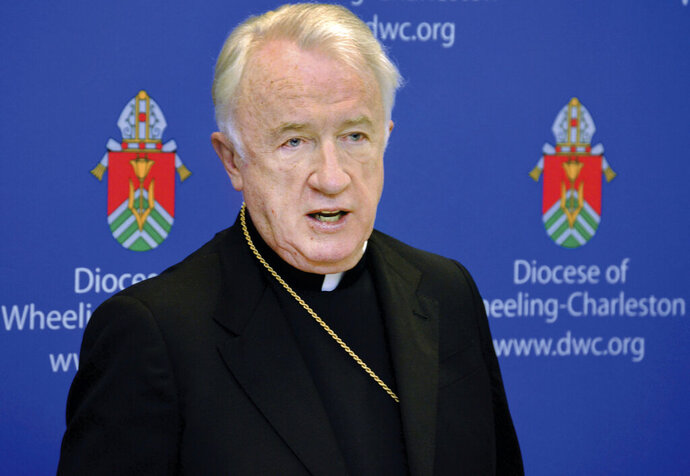 FILE - A 2015 file photo shows West Virginia Bishop Michael J. Bransfield, then-bishop of the Roman Catholic Diocese of Wheeling-Charleston. A lawsuit accusing Bransfield of molesting boys and men has been settled. The terms of the recent settlement are confidential, Wheeling-Charleston Diocese spokesman Tim Bishop said in a statement, Wednesday, Aug. 21, 2019. The diocese declined further comment. (Scott McCloskey/The Intelligencer via AP, File)