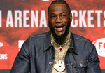 WBC heavyweight champion Deontay Wilder speaks during a final news conference at MGM Grand Garden Arena Las Vegas Wednesday, Nov. 20, 2019. Wilder will defend his title in a rematch against Luis Ortiz at the arena on Saturday, Nov. 23, 2019. (Steve Marcus/Las Vegas Sun via AP)