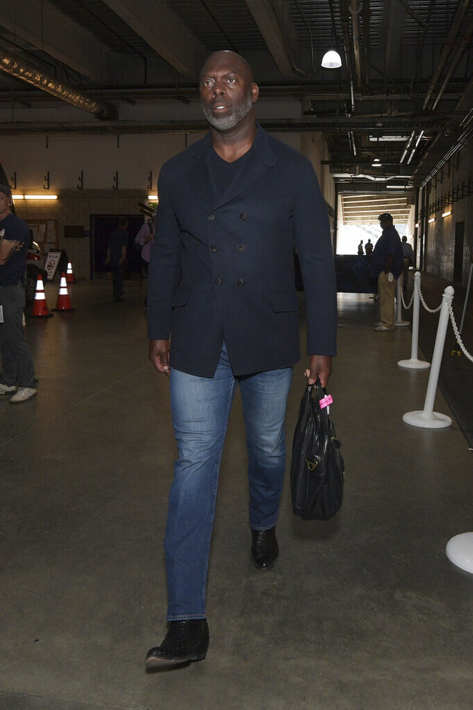 Los Angeles Chargers head coach Anthony Lynn arrives prior to an NFL football game against the Pittsburgh Steelers, Sunday, Oct. 13, 2019, in Carson, Calif. (AP Photo/Kyusung Gong)