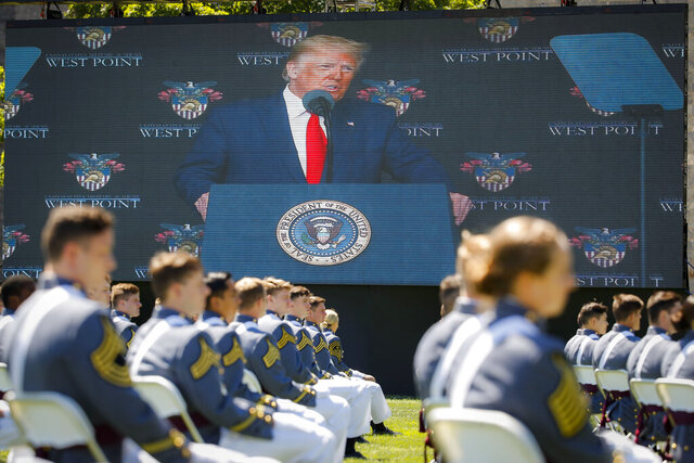 President Donald Trump speaks to United States Military Academy graduating cadets during commencement ceremonies, Saturday, June 13, 2020, in West Point, N.Y. Trump's commencement speech to the 1,100 graduating cadets during a global pandemic comes as arguments rage over his threat to use American troops on U.S. soil to quell protests stemming from the killing of George Floyd by a Minneapolis police officer. (AP Photo/John Minchillo, Pool)