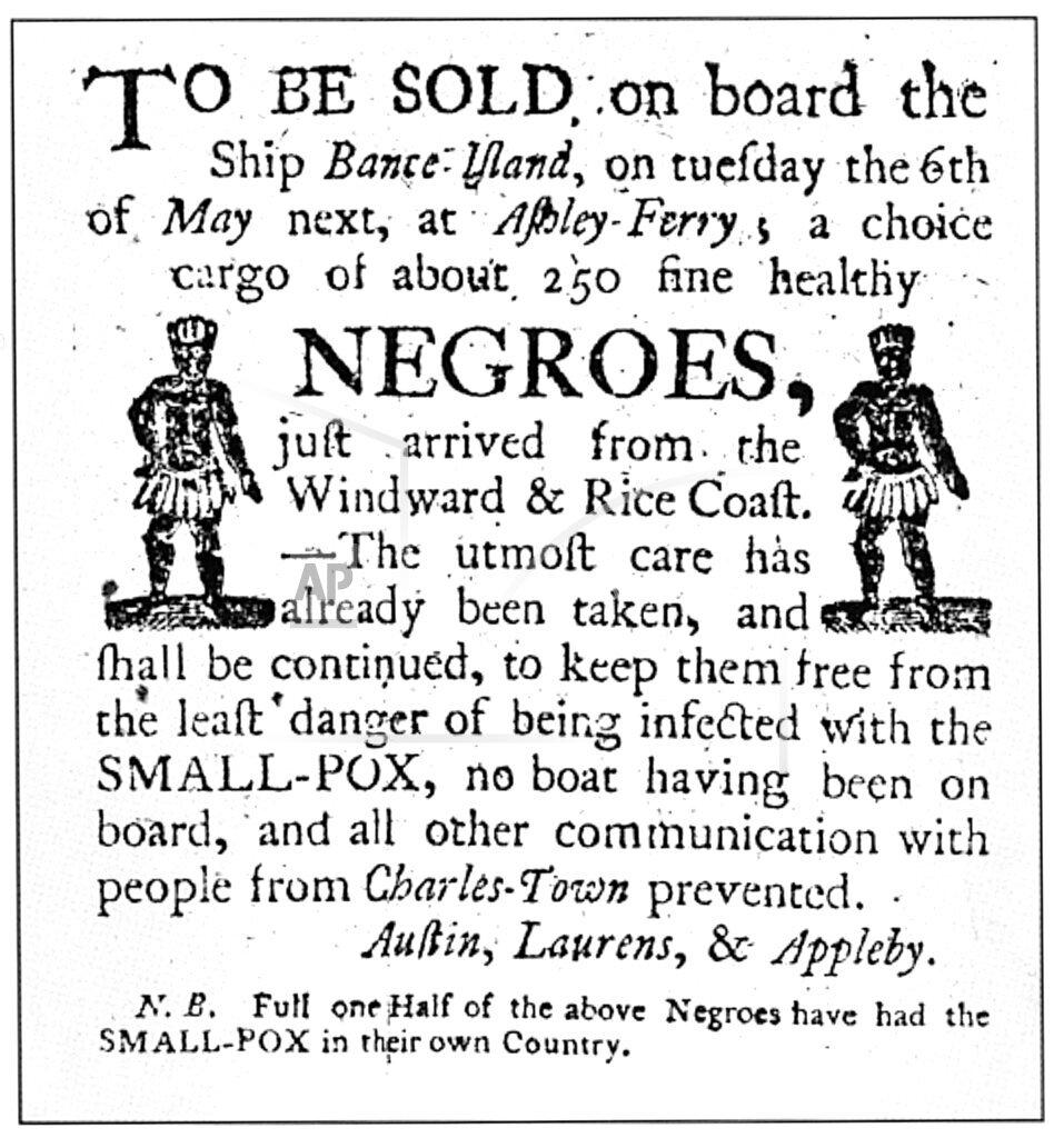 Slavery Auction Advertisement