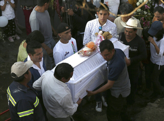 Family members bury 7-year-old murder victim Fatima in Mexico City, Tuesday, Feb. 18, 2020. Fatima's body was found wrapped in a bag and abandoned in a rural area on Saturday. Five people have been questioned in the case, and video footage of her abduction exists. (AP Photo/Marco Ugarte)