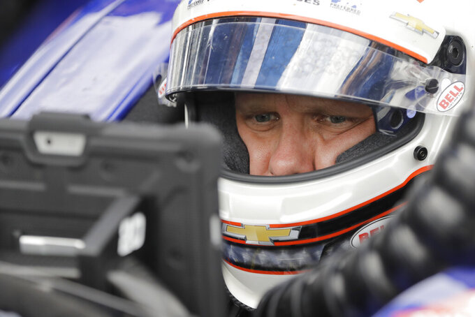 Ed Carpenter sits in his car during practice for the Indianapolis 500 IndyCar auto race at Indianapolis Motor Speedway, Tuesday, May 14, 2019, in Indianapolis. (AP Photo/Darron Cummings)