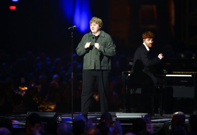 Lewis Capaldi performs on stage at the Brit Awards 2020 in London, Tuesday, Feb. 18, 2020. (Photo by Joel C Ryan/Invision/AP)