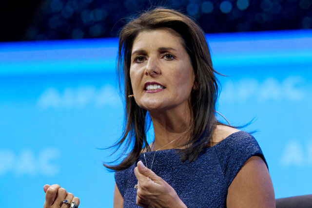FILE - In this Monday, March 25, 2019 file photo, Former Ambassador to the U.N Nikki Haley speaks at the 2019 American Israel Public Affairs Committee (AIPAC) policy conference, at the Washington Convention Center in Washington. Former South Carolina Gov. Nikki Haley says in an interview that a man who gunned down nine worshipers at an African American church in 2015 'hijacked' the ideals many connected to the Confederate battle flag. Haley said that the flag had meant service, sacrifice and heritage to some. (AP Photo/Jose Luis Magana, File)