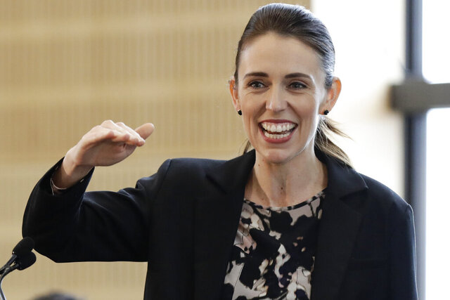 FILE - In this June 25, 2020, file photo, New Zealand Prime Minister Jacinda Ardern gestures during the opening ceremony for Redcliffs School in Christchurch, New Zealand. Prime Minister Ardern has voted in the nation's general election, a week before polls officially close. Ardern cast her vote in her Auckland district Saturday, Oct. 10, after visiting a market in the heavily Polynesian south Auckland suburb of Otara, where she was thronged by supporters.(AP Photo/Mark Baker, File)