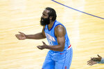 Houston Rockets guard James Harden (13) reacts to a call during the team's NBA basketball game against the Los Angeles Lakers on Tuesday, Jan. 12, 2021, in Houston. (Mark Mulligan/Houston Chronicle via AP)