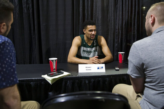 Michigan State forward Kenny Goins speaks during an NCAA men's college basketball individual news conference in Washington, Saturday, March 30, 2019. Michigan State plays Duke in the East Regional final game on Sunday. (AP Photo/Alex Brandon)