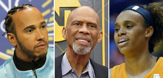 FILE - At left, in a Dec. 6, 2019, file photo, Formula One driver Lewis Hamilton attends a press conference in Paris. At center, in a June 24, 2019, file photo, Kareem Abdul-Jabbar arrives at NBA Awards ceremonies in Santa Monica, Calif. At right, in an Aug. 16, 2019, file photo, Phoenix Mercury WNBA basketball player Brianna Turner is shown during a game in Phoenix. A column is normally a spot for pontificating, to speak bluntly on the issues of the day and receive a gamut of feedback, from effusive praise to slanderous insults.  Not this time.  Now's the time for those of us in the privileged class to listen, really listen to what African-Americans and people of color around the world are expressing in the wake of George Floyd's brutal, senseless death. (AP Photo/File)