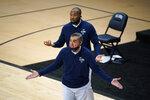 Villanova head coach Jay Wright reacts to a call during the first half of an NCAA college basketball game against Butler, Wednesday, Dec. 16, 2020, in Villanova, Pa. (AP Photo/Matt Slocum)
