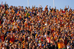 Dutch fans cheer during the qualifying session for Sunday's Formula One Dutch Grand Prix, at the Zandvoort racetrack, Netherlands, Saturday, Sept. 4, 2021. Red Bull driver Max Verstappen of the Netherlands clinched the pole position. (AP Photo/Francisco Seco)