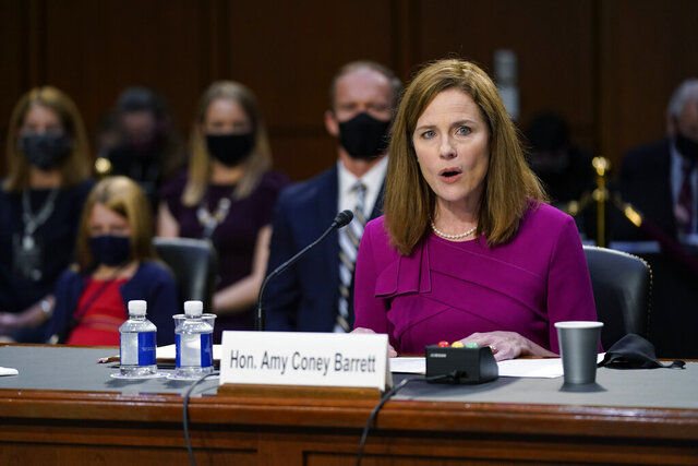Supreme Court nominee Amy Coney Barrett speaks during a confirmation hearing before the Senate Judiciary Committee, Monday, Oct. 12, 2020, on Capitol Hill in Washington. (AP Photo/Patrick Semansky, Pool)
