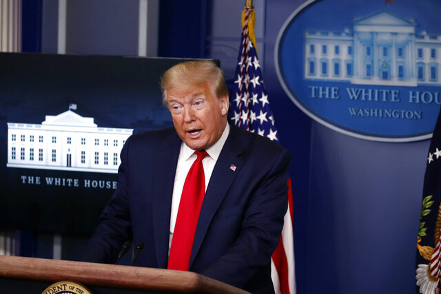 President Donald Trump speaks with reporters about the coronavirus in the James Brady Briefing Room of the White House, Friday, May 22, 2020, in Washington. (AP Photo/Alex Brandon)