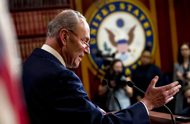 Senate Minority Leader Sen. Chuck Schumer of N.Y., speaks at a news conference, Monday, Dec. 16, 2019, on Capitol Hill in Washington. (AP Photo/Andrew Harnik)