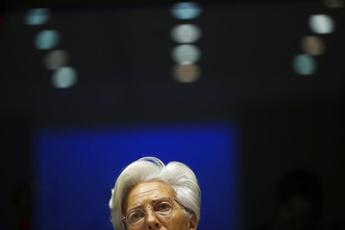 European Central Bank President Christine Lagarde addresses European Parliament lawmakers during a monetary dialogue meeting at the European Parliament in Brussels, Thursday, Feb. 6, 2020. (AP Photo/Francisco Seco)