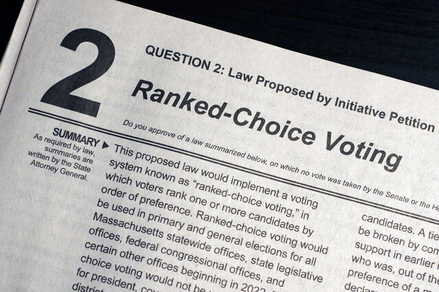 FILE - In this Sept. 23, 2020, file photo, a summary of Ballot Question 2 on the Nov. 3 Massachusetts election ballot known as a