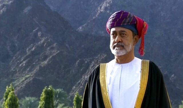 FILE - This Jan. 11, 2020 file image made from video shows Oman's Sultan Haitham bin Tariq Al Said in Muscat, Oman. Oman's sultan on Tuesday, Aug. 18, 2020, named foreign and finance ministers for the first time, putting officials in positions long wielded by his late predecessor. (Oman TV via AP)