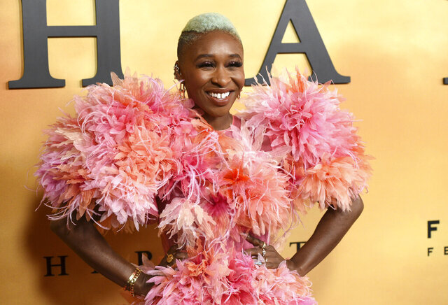 FILE - This Oct. 29, 2019 file photo shows Cynthia Erivo at the Los Angeles premiere of