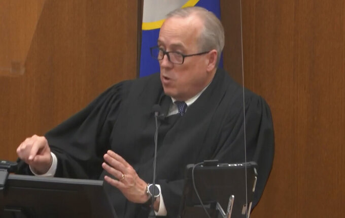 FILE - In this April 19, 2021, file image from video, Hennepin County Judge PeterCahill addresses the court after the judge put the trial into the hands of the jury, in the trial of Chauvin, in the May 25, 2020, death of George Floyd at the Hennepin County Courthouse in Minneapolis, Minn. In a ruling May 12, 2021, Judge Cahill finds aggravating factors in death of George Floyd, paving way for tougher sentence for Chauvin. (Court TV via AP, Pool)