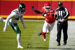 New York Jets defensive end Bryce Huff pushes Kansas City Chiefs running back Le'Veon Bell out of bounds after Bell caught a pass in the first half of an NFL football game on Sunday, Nov. 1, 2020, in Kansas City, Mo. (AP Photo/Jeff Roberson)