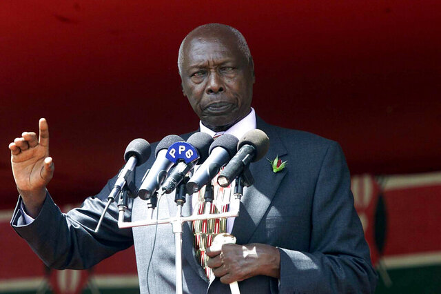 FILE - In this Saturday, June 29, 2002 file photo, Kenyan President Daniel arap Moi addresses a crowd of supporters, during a political rally by the ruling KANU party in the capital Nairobi, Kenya. Moi, a former schoolteacher who became Kenya's longest-serving president and presided over years of repression and economic turmoil fueled by runaway corruption, has died. He was 95. (AP Photo/Karel Prinsloo, File)