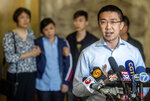 Xiaolin Hou, boyfriend of murdered University of Illinois visiting scholar Yingying Zhang, expresses his thoughts on the life sentence for her convicted killer, Brendt Christensen, during a news conference, Thursday, July 18, 2019, at the U.S. Federal Courthouse in Peoria, Ill. (Matt Dayhoff/Journal Star via AP)