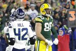Green Bay Packers' Jimmy Graham celebrates a catch during the first half of an NFL divisional playoff football game against the Seattle Seahawks Sunday, Jan. 12, 2020, in Green Bay, Wis. (AP Photo/Mike Roemer)