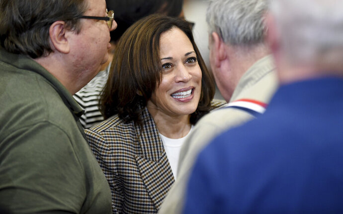 Democratic presidential candidate Kamala Harris greets people following a rally a rally at Aiken High School in Aiken, S.C. Saturday, Oct. 19, 2019. (Michael Holahan/The Augusta Chronicle via AP)