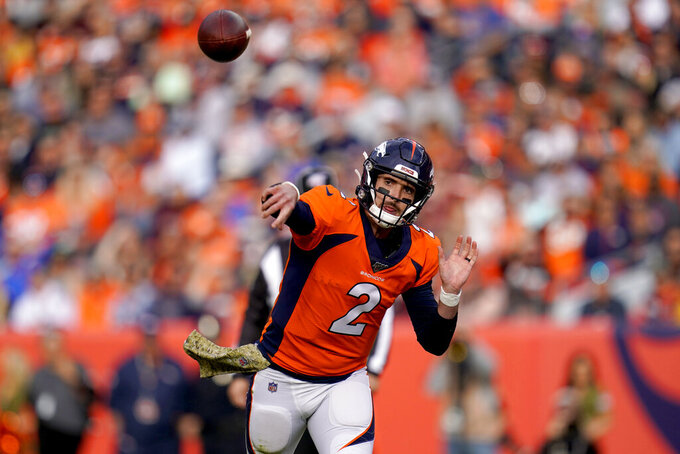 Denver Broncos quarterback Brandon Allen (2) throws against the Cleveland Browns during the first half of NFL football game, Sunday, Nov. 3, 2019, in Denver. (AP Photo/Jack Dempsey)