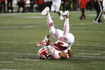 Indiana defensive back Reese Taylor (2) rolls over after intercepting the ball during the second half of an NCAA college football game against Maryland, Saturday, Oct. 19, 2019, in College Park, Md. (AP Photo/Nick Wass)