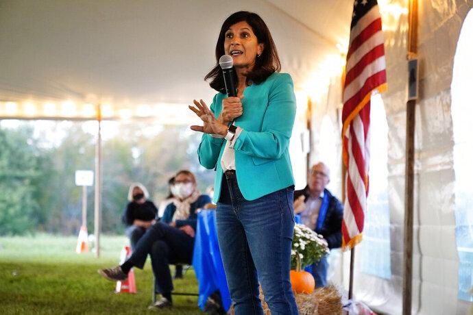 Sara Gideon, a Democratic candidate for U.S. Senate, speaks at a