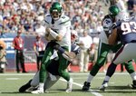 New England Patriots linebacker Jamie Collins, rear, sacks New York Jets quarterback Luke Falk in the first half of an NFL football game, Sunday, Sept. 22, 2019, in Foxborough, Mass. (AP Photo/Steven Senne)