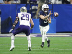 File- This Dec. 30, 2017, file photo shows Penn State quarterback Trace McSorley (9) against Washington during the Fiesta Bowl NCAA college football game in Glendale, Ariz. Multi-tempo has replaced up-tempo for a lot of college offenses. Mississippi State's Joe Moorhead, who was offensive coordinator at Penn State the last two seasons, said his offense mostly operates at three speeds.