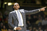 Vanderbilt head coach Jerry Stackhouse directs his players in the first half of an NCAA college basketball game against LSU Wednesday, Feb. 5, 2020, in Nashville, Tenn. (AP Photo/Mark Humphrey)