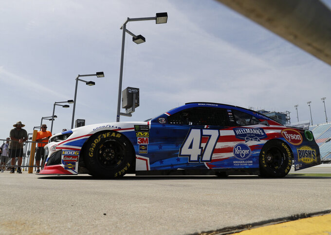Ryan Preece drives to the garage during a practice for the NASCAR Sprint Cup Series auto race at Chicagoland Speedway in Joliet, Ill., Saturday, June 29, 2018. (AP Photo/Nam Y. Huh)