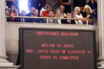 Spectators listen to debate over the call for the expulsion of Rep. David Byrd, R-Waynesboro, during a special session of the House of Representatives Friday, Aug. 23, 2019, in Nashville, Tenn. Byrd is accused of sexual misconduct by three women nearly 30 years ago. (AP Photo/Mark Humphrey)