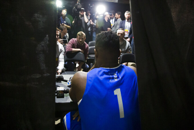 Duke forward Zion Williamson speaks during an individual NCAA men's college basketball news conference in Washington, Saturday, March 30, 2019. Duke plays Michigan State in the East Regional final game on Sunday. (AP Photo/Alex Brandon)