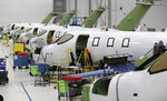 This July 30, 2019 shows the main production area at the Honda Aircraft Co. headquarters in Greensboro, N.C. where the HondaJet Elite aircraft is manufactured. Nearly four years after delivering its first jet, Honda is facing decisions as the company better known for cars and lawnmowers considers whether to sink billions more into its decades-in-the-making aircraft division. (AP Photo/Gerry Broome)