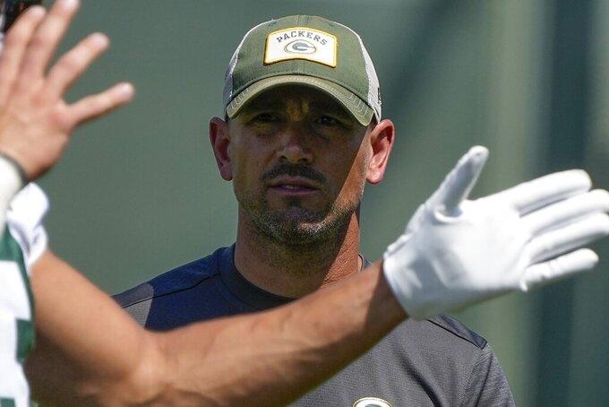 Green Bay Packers' head coach Matt LaFleur watches during an NFL football minicamp Tuesday, June 8, 2021, in Green Bay, Wis. (AP Photo/Morry Gash)