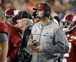 FILE - In this Jan. 9, 2017, file photo, Alabama offensive coordinator Steve Sarkisian is seen on the sidelines during the second half of the NCAA college football playoff championship game against Clemson, in Tampa, Fla. There was plenty of coaching turnover in the Southeastern Conference this offseason. It just didn't involve the guys in charge. (AP Photo/David J. Phillip, File)