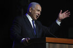 Israeli Prime Minister Benjamin Netanyahu speaks at a ceremony showing appreciation to the health care system for their contribution to the fight against the coronavirus, in Jerusalem, Sunday, June 6, 2021. (AP Photo/Ariel Schalit)