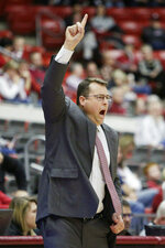 Stanford head coach Jerod Haase signals his team during the first half of an NCAA college basketball game against Washington State in Pullman, Wash., Saturday, Jan. 19, 2019. (AP Photo/Young Kwak)