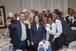 In this photo released by the Taiwan Presidential Office, Taiwanese President Tsai Ing-wen poses for photos in St. Lucia on Thursday, July 18, 2019. Tsai said she would follow
