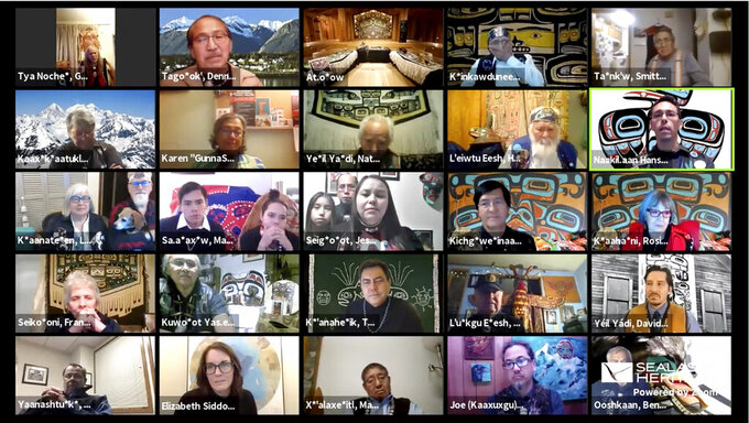 Provided by the Sealaska Heritage Institute, this Nov. 5, 2020, image shows a Zoom memorial service for Tlingit elder David Katzeek, conducted by the institute, with some of the many people honoring Katzeek over the internet as the pandemic had made in-person ceremonies impossible. (Sealaska Heritage Institute via AP)